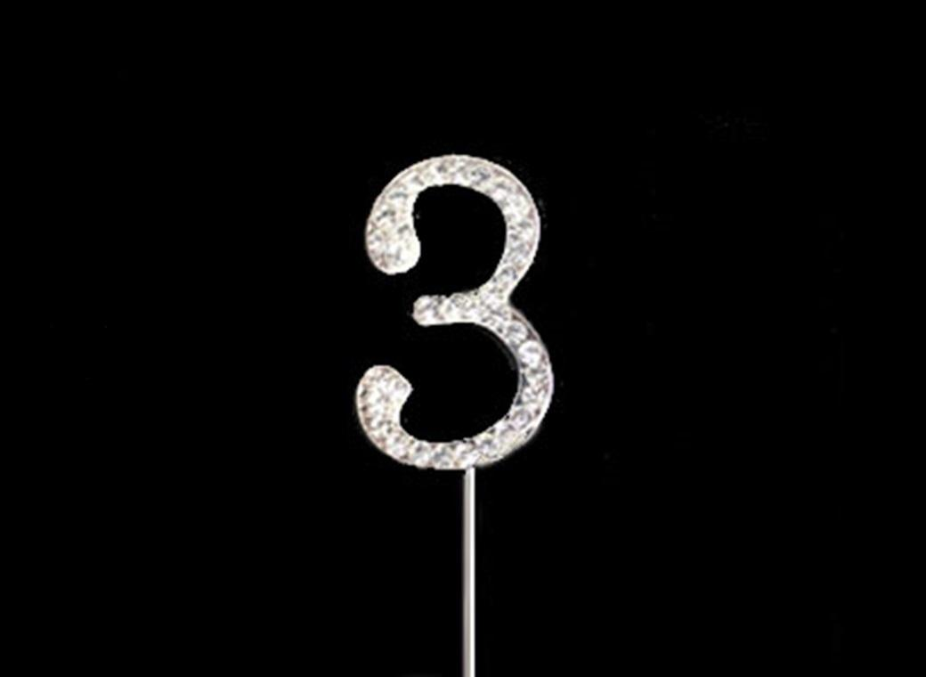 Diamante Cake Topper Small - Number 3