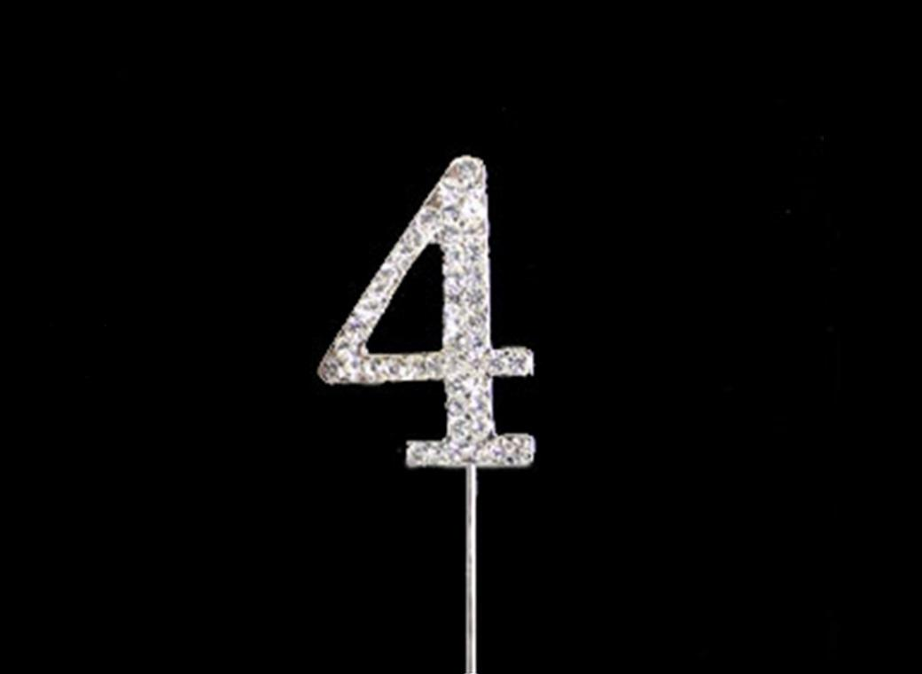 Diamante Cake Topper Small - Number 4