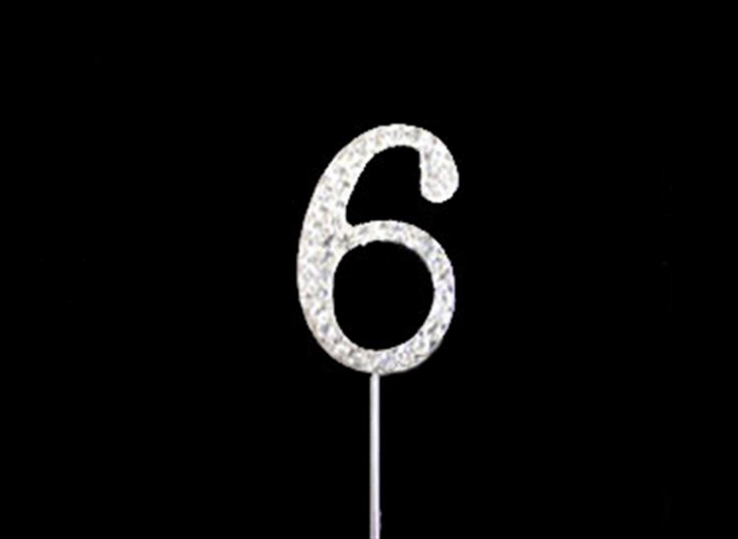 Diamante Cake Topper Small - Number 6