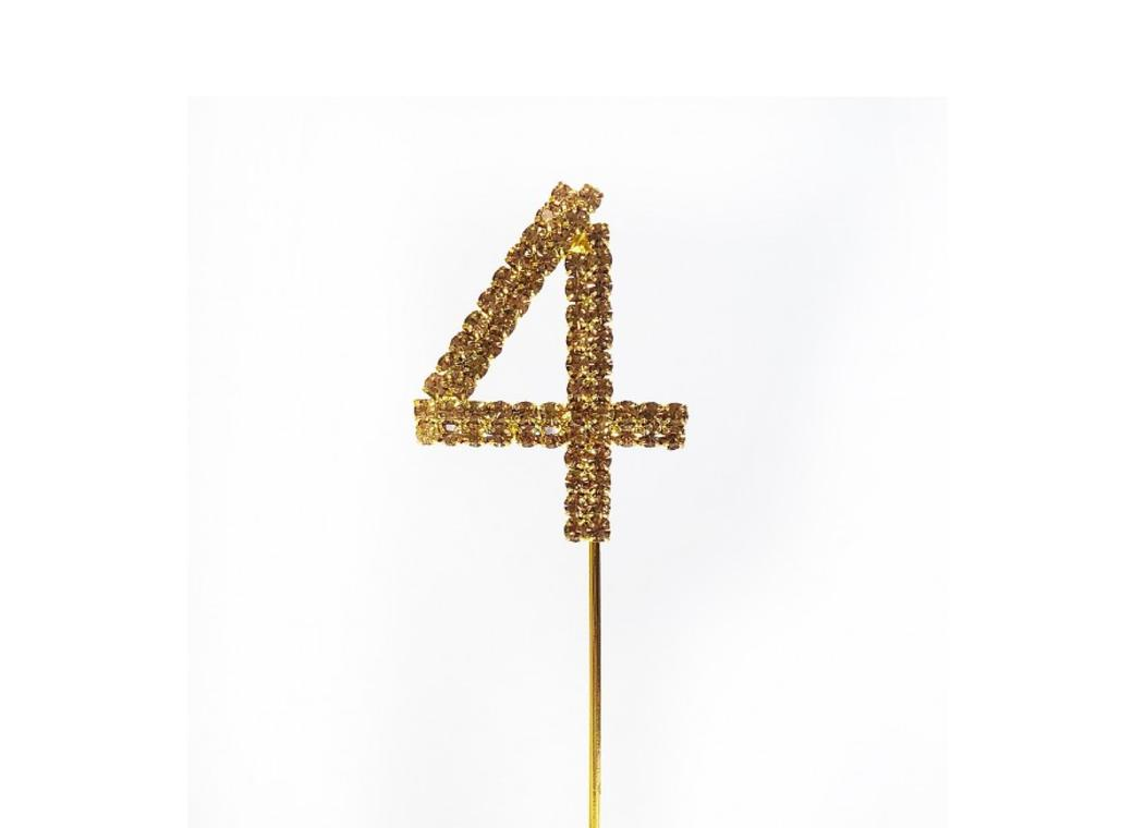 Gold Diamante Cake Topper Small - Number 4