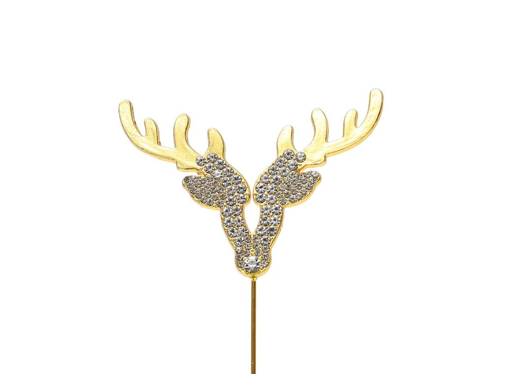 Diamante Gold Reindeer Topper