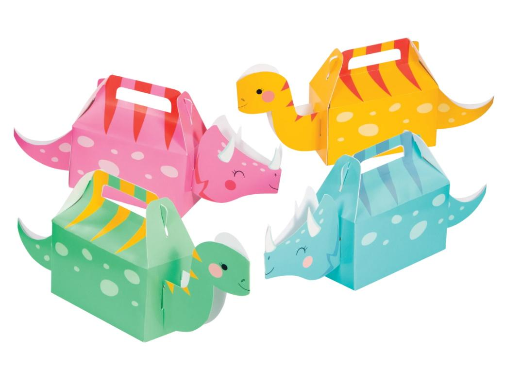 Dino Party Girls Treat Boxes 4pk