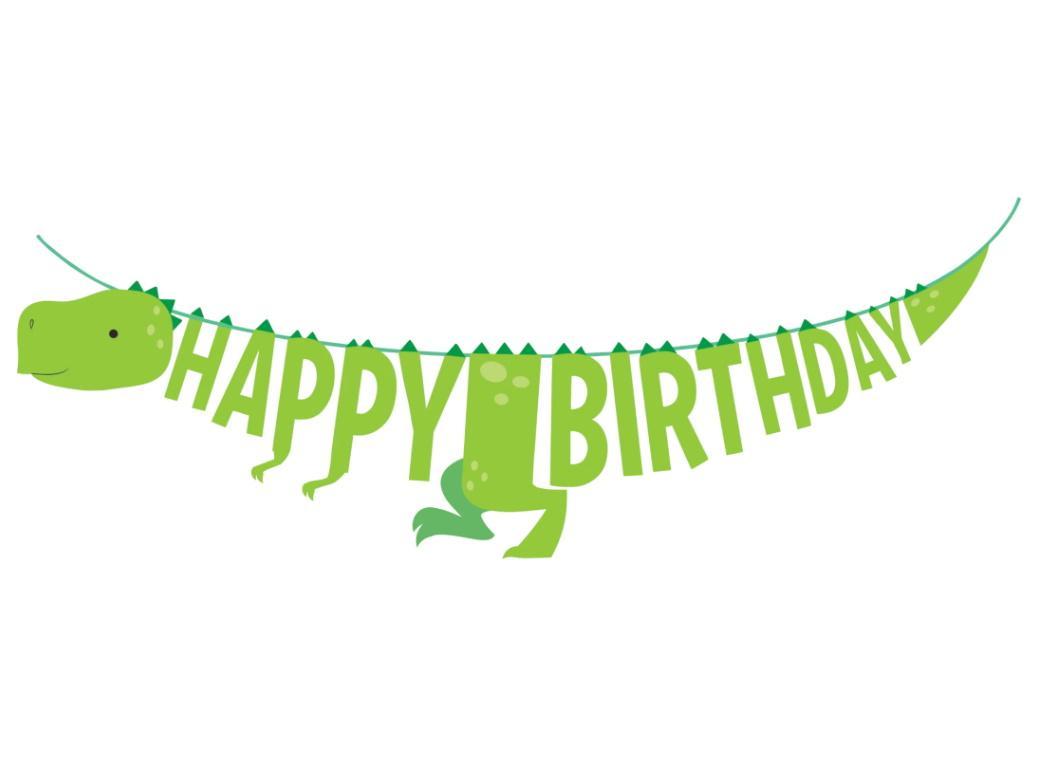 Dino Party Happy Birthday Banner