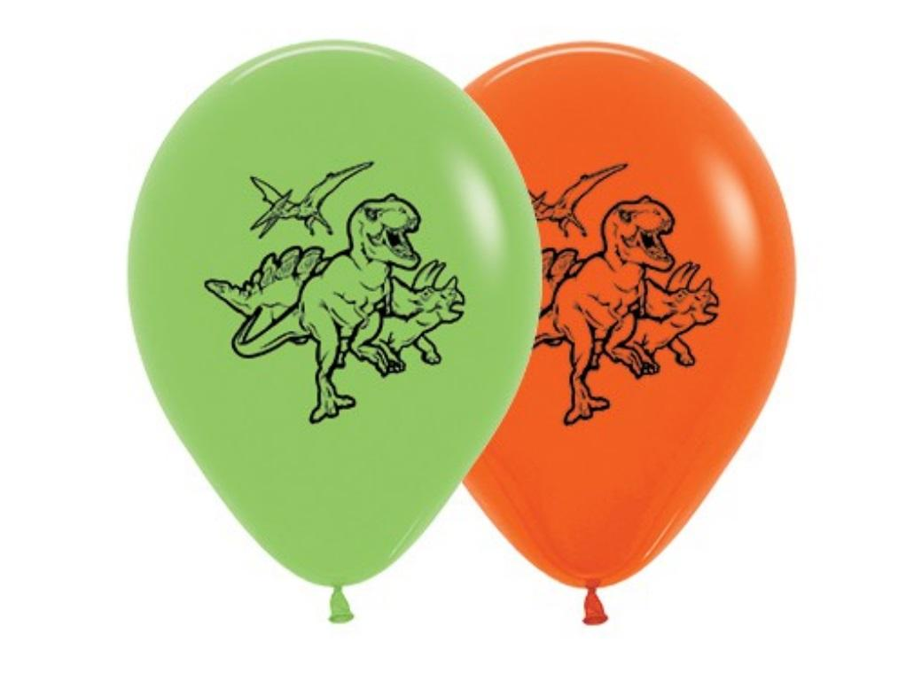 Dinosaur Balloons Orange & Green 5pk