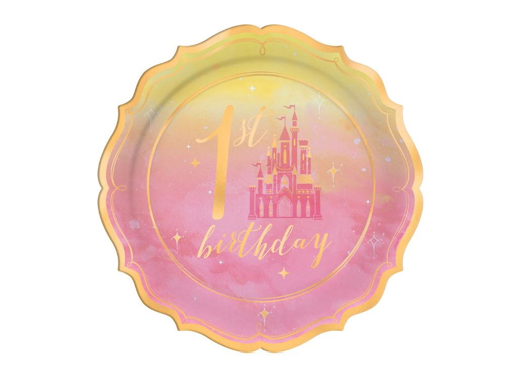 Disney Princess 1st Birthday Lunch Plates 8pk