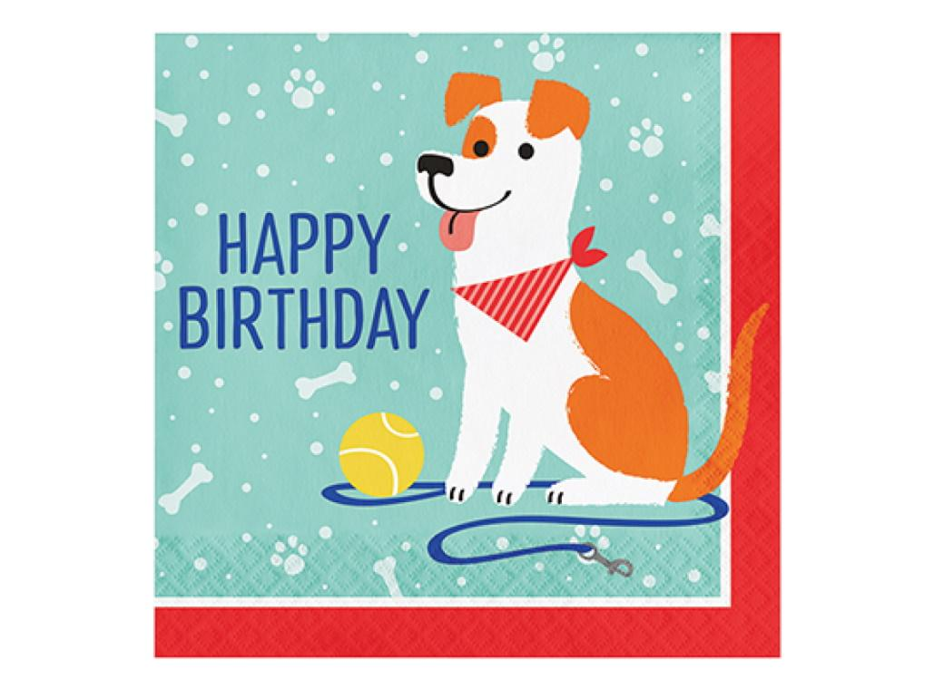 Dog Party Birthday Lunch Napkins 16pk