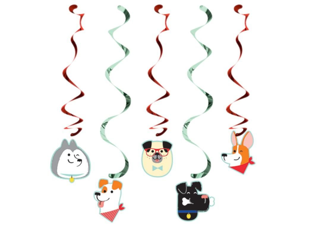 Dog Party Hanging Swirl Decorations