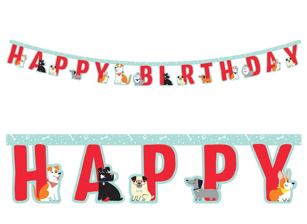 Dog Party Happy Birthday Banner