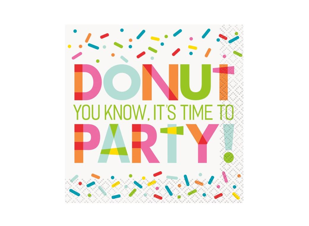 Donut Party Beverage Napkins 16pk