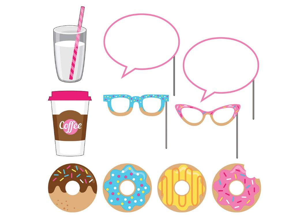 Donut Time Photo Booth Props 10pk