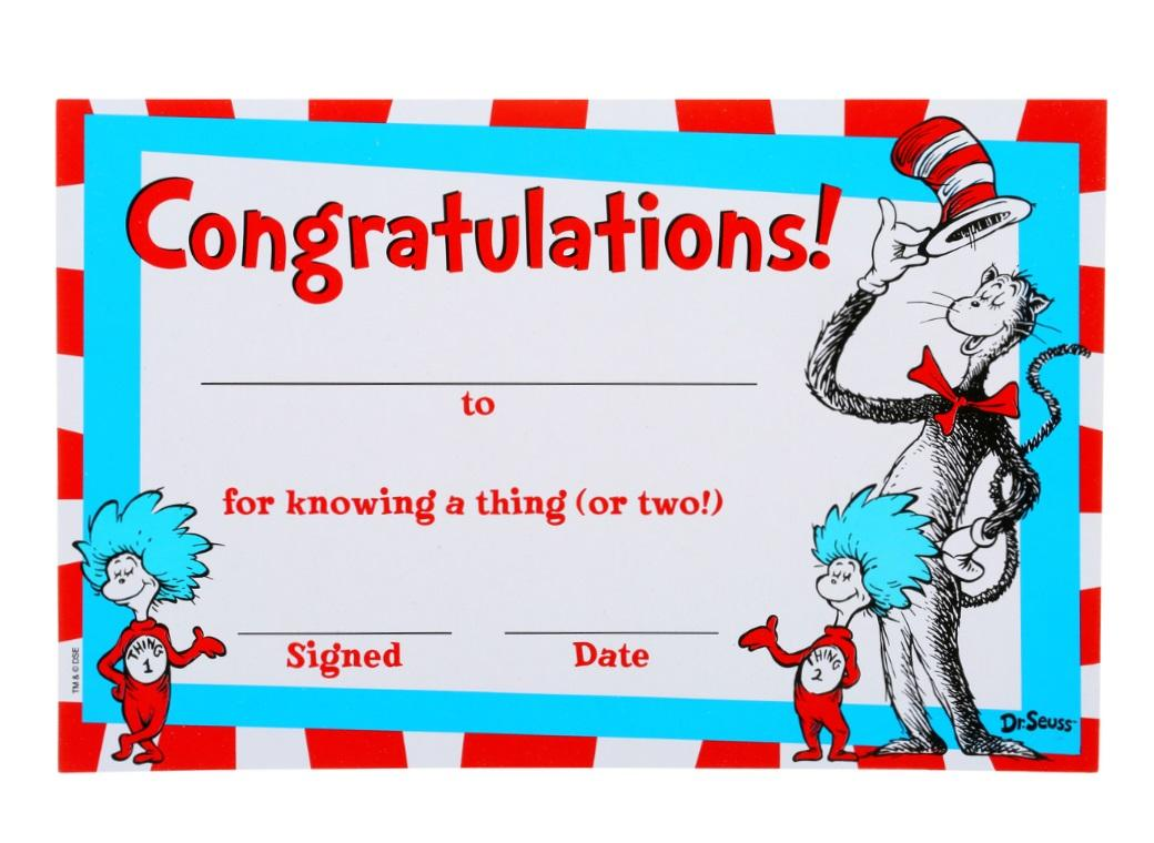 Dr Seuss Cat In The Hat Certificates 36pk