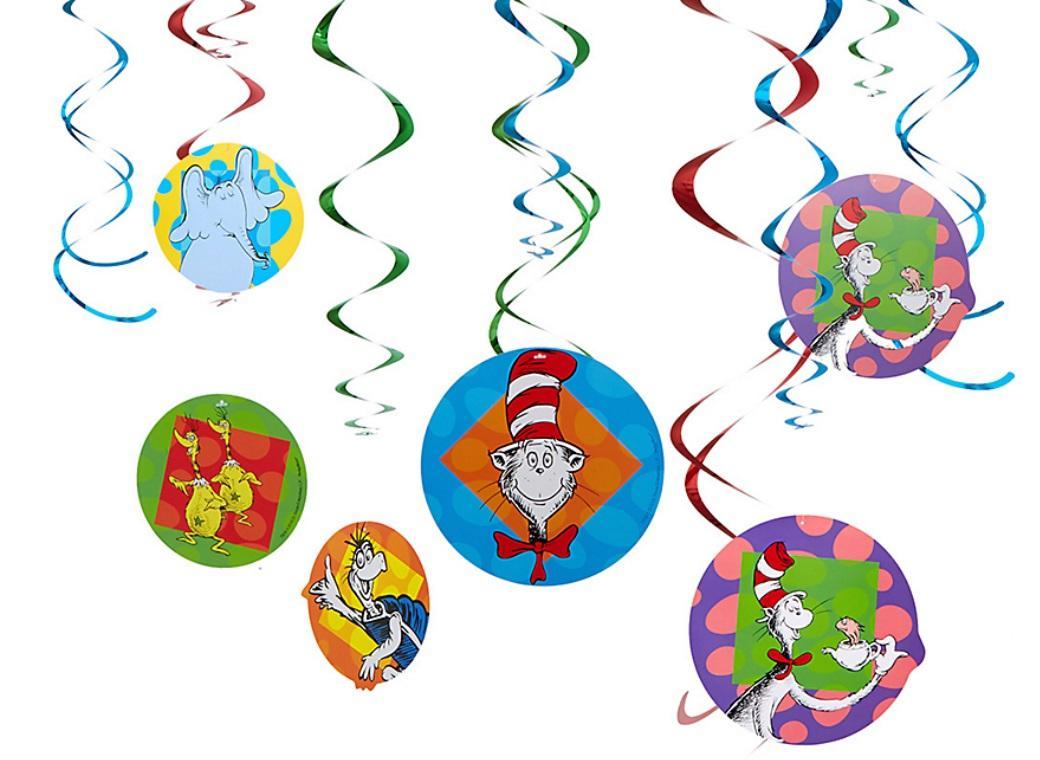 Dr Seuss Hanging Swirl Decorations