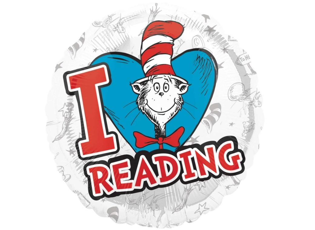 Dr Seuss I Love Reading Foil Balloon