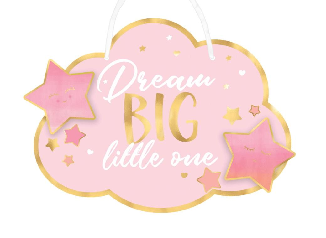 Dream Big Little One Hanging Sign - Pink