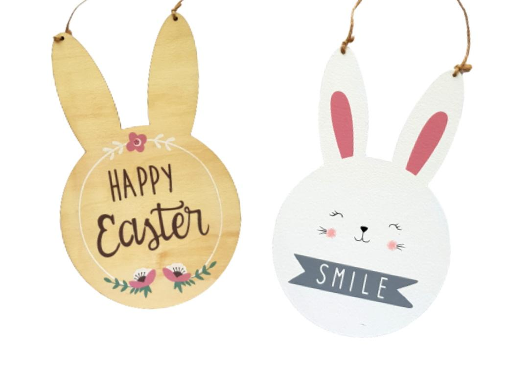 Easter Bunny Hanging Wooden Sign