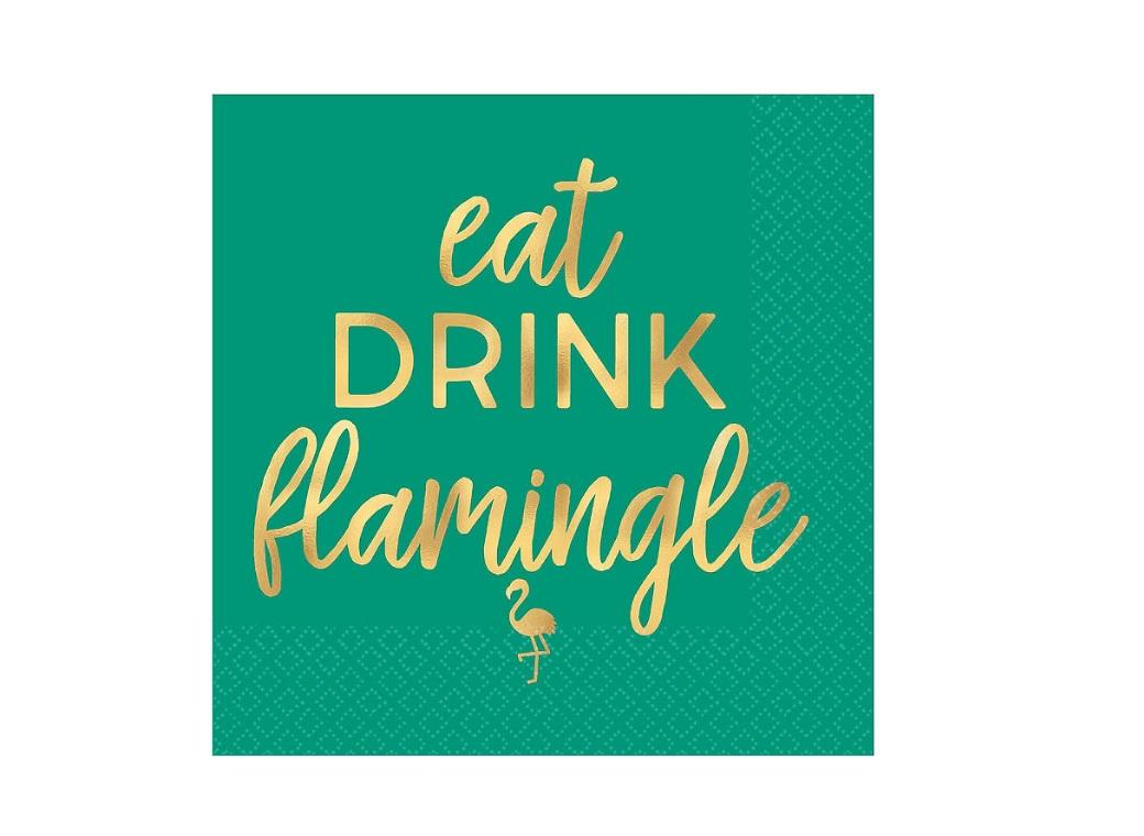 Eat Drink Flamingle Beverage Napkins 16pk