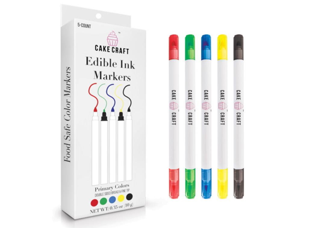 Cake Craft Edible Markers 5pk Primary