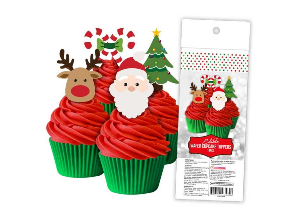 Edible Wafer Cupcake Toppers - Christmas