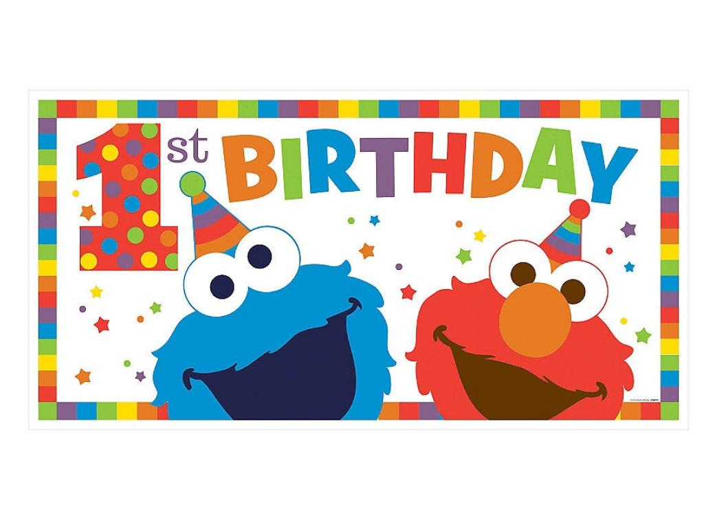 Elmo Turns One 1st Birthday Banner