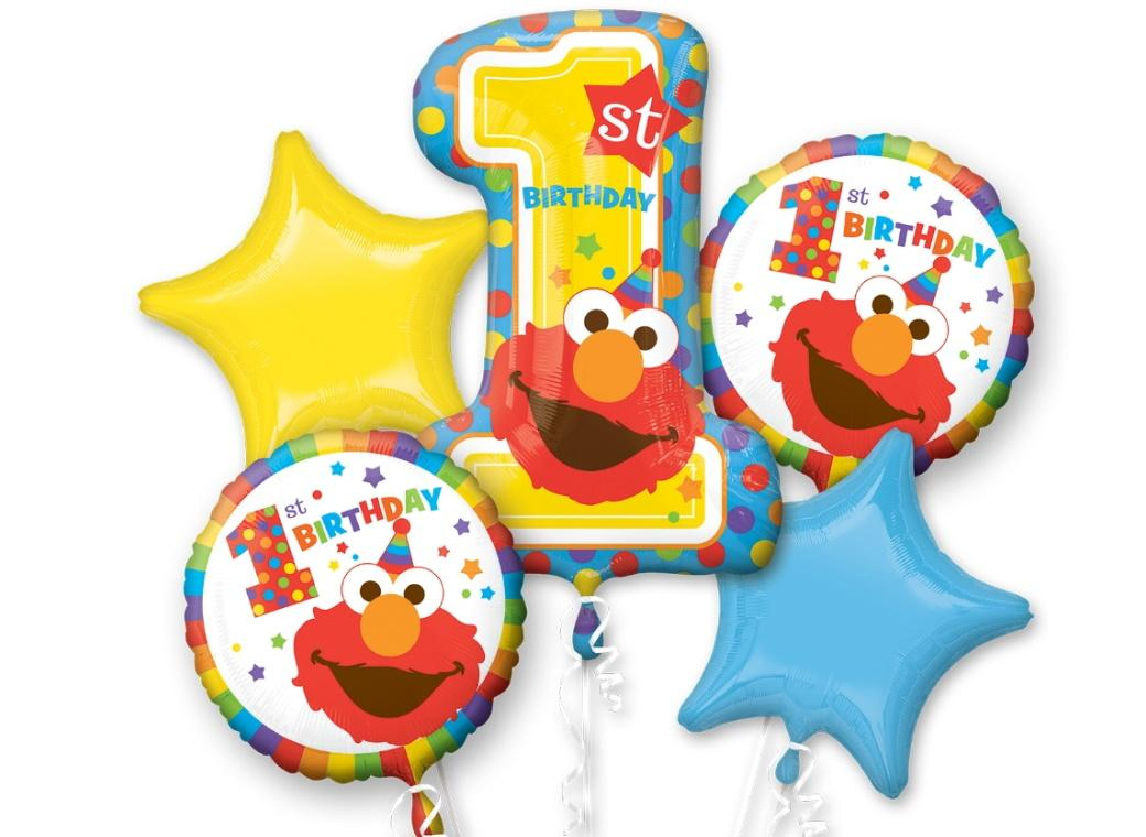 Elmo Turns One Foil Balloon Bouquet