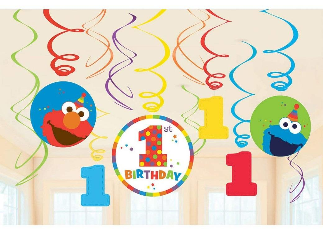 Elmo Turns One Hanging Swirl Decorations