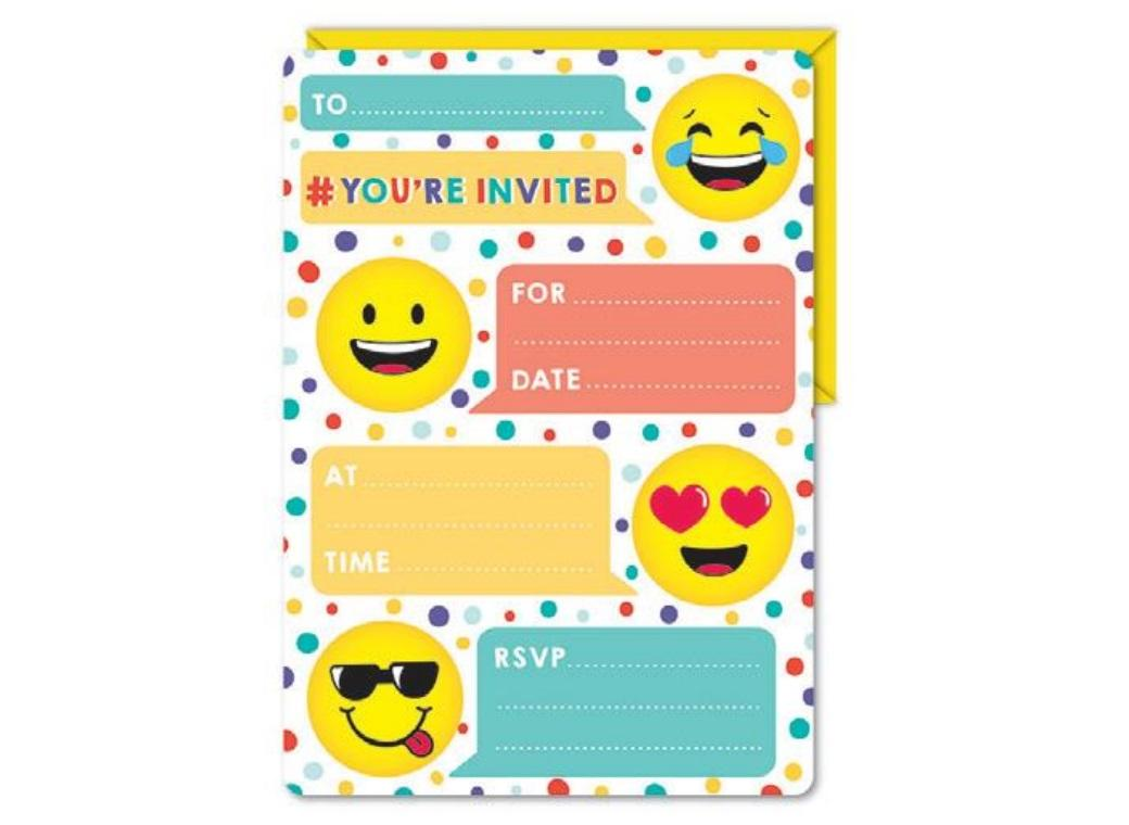 Emoji Party Invitations 16pk