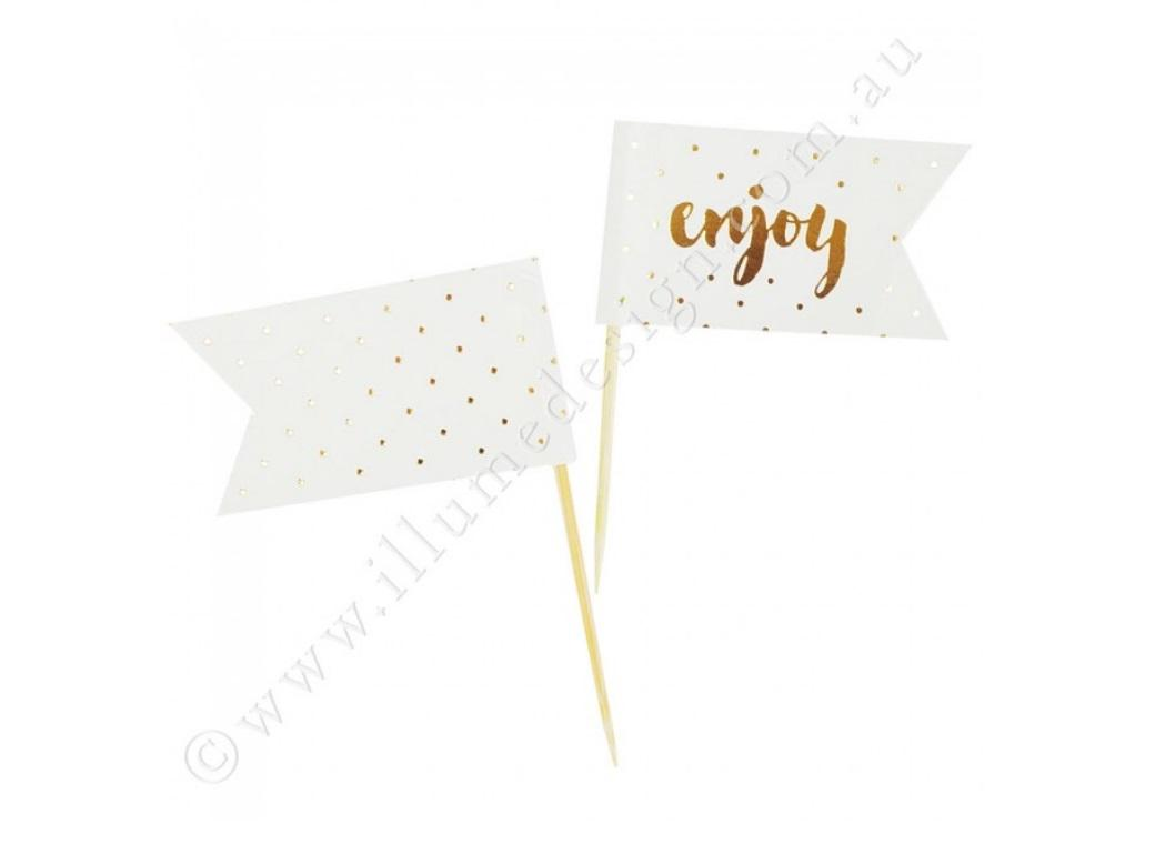 Enjoy Gold Cupcake Toppers - 12pk