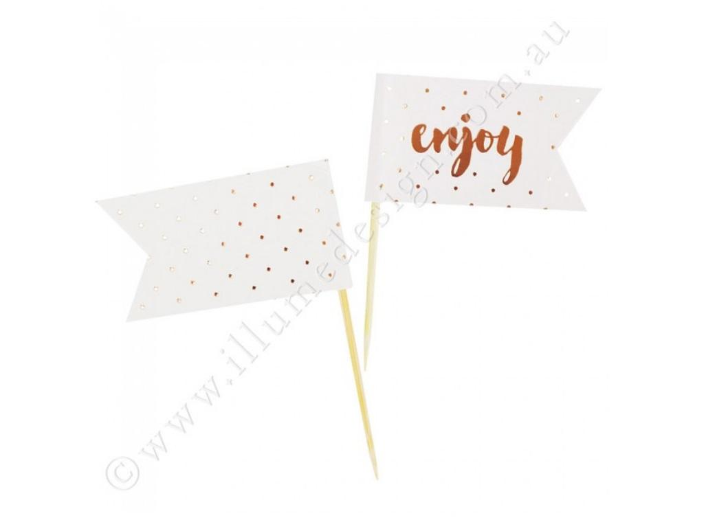 Enjoy Rose Gold Cupcake Toppers - 12pk