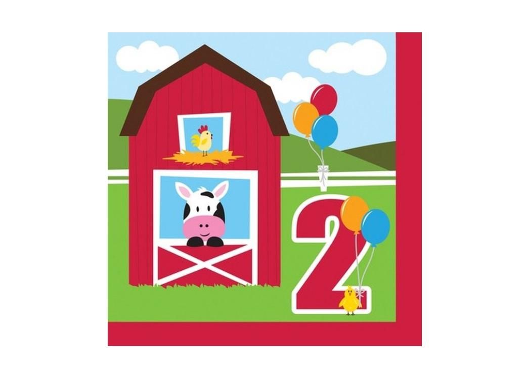 Farmhouse Fun 2nd Birthday Lunch Napkins 18pk