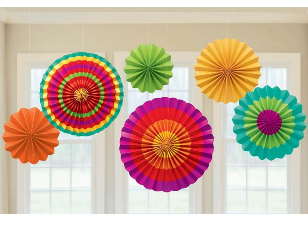 Fiesta Paper Fans - Set of 6