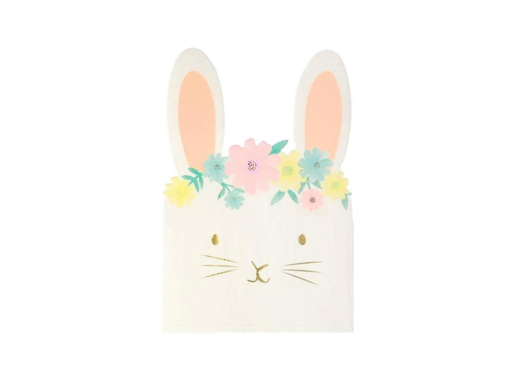 Floral Bunny Shaped Napkins 16pk