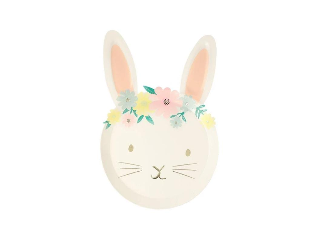 Floral Bunny Shaped Plates 8pk