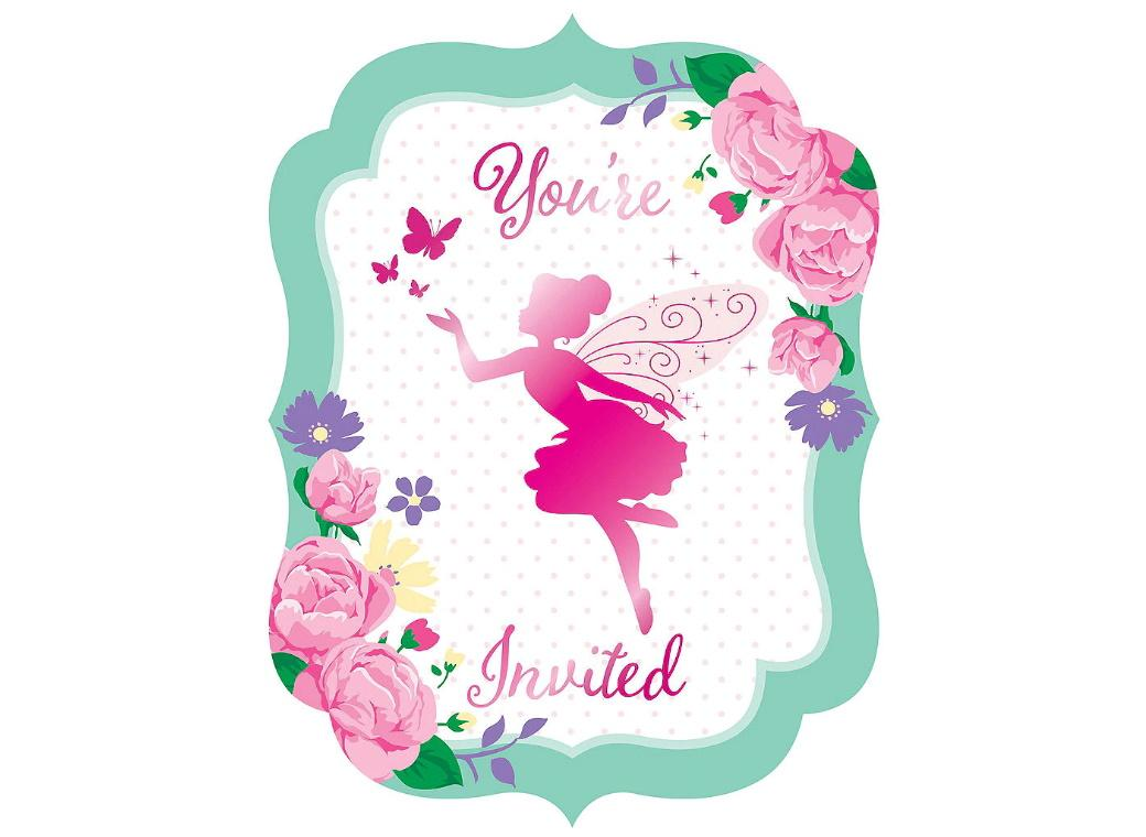 Floral Fairy Invitations 8pk