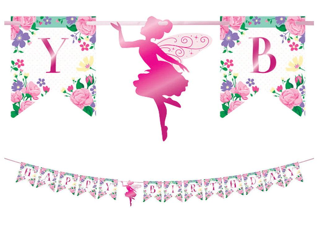 Floral Fairy Happy Birthday Banner
