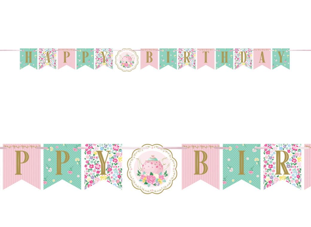 Floral Tea Party Birthday Banner