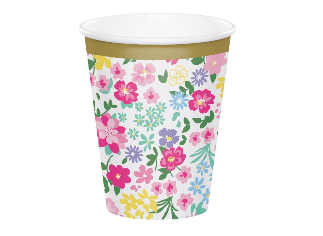 Floral Tea Party Cups 8pk
