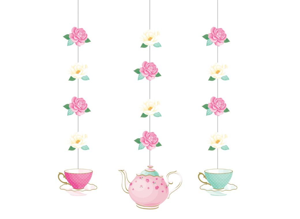 Floral Tea Party Hanging Cutouts 3pk