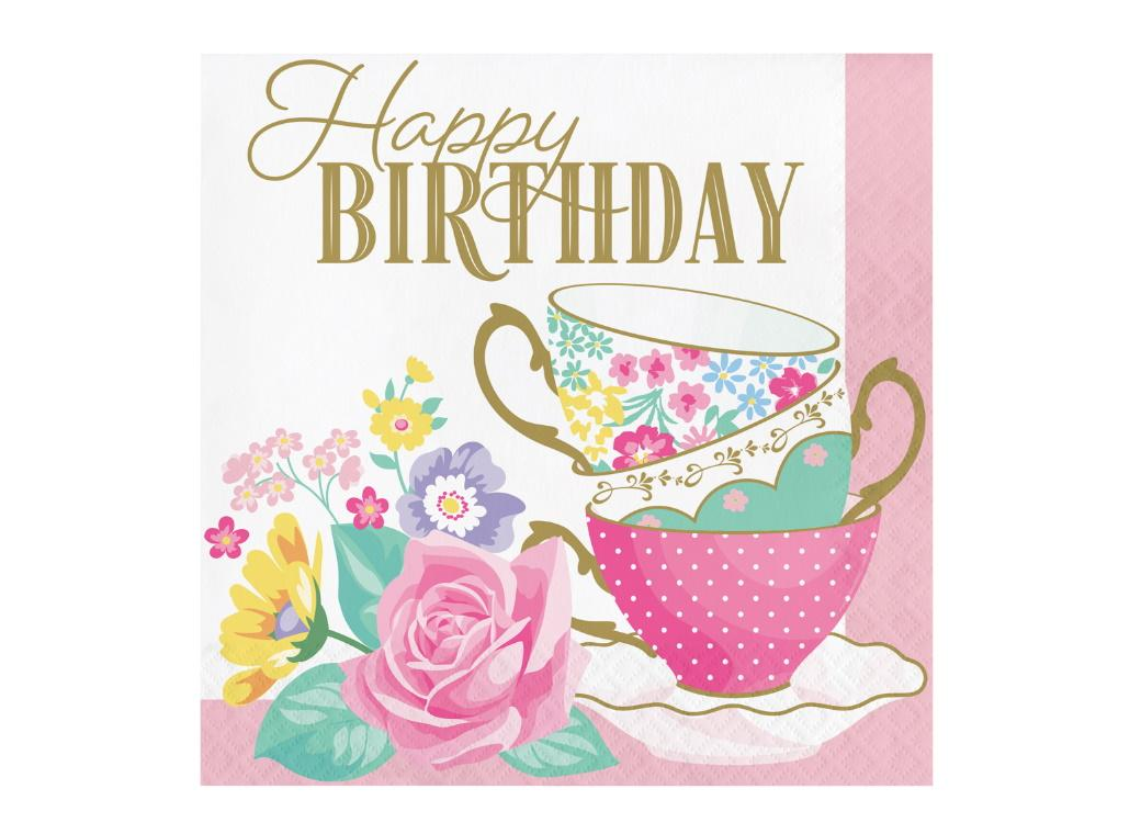 Floral Tea Party Birthday Lunch Napkins 16pk
