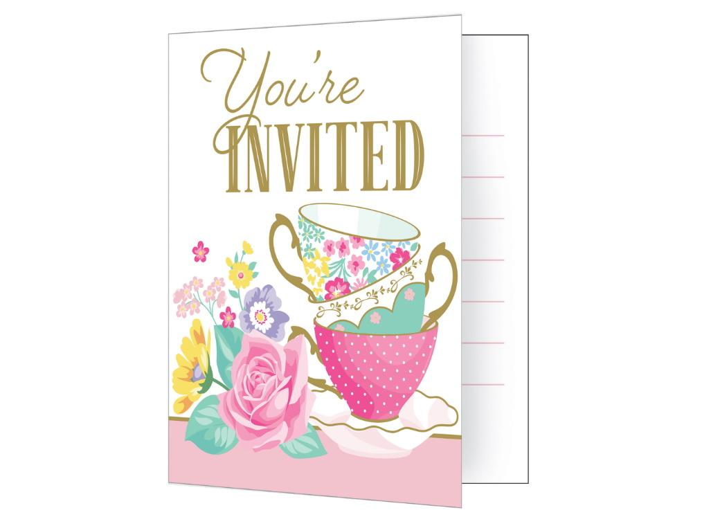 Floral Tea Party Invitations 8pk