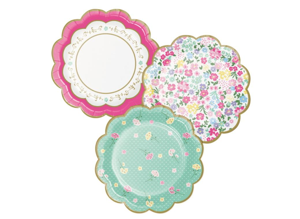 Floral Tea Party Scalloped Lunch Plates 8pk