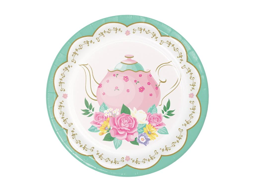 Floral Tea Party Round Lunch Plates 8pk