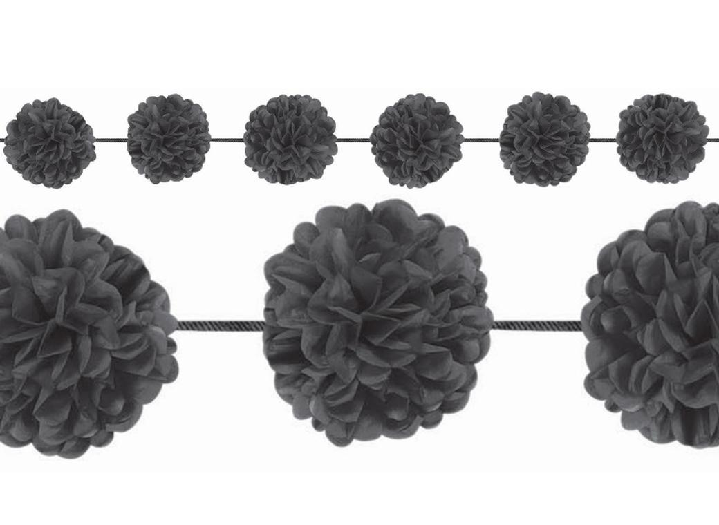 Fluffy Pom Pom Garlands - Black