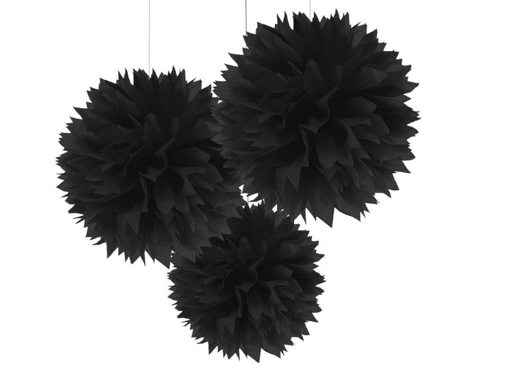 Fluffy Tissue Pom Poms 3pk - Black