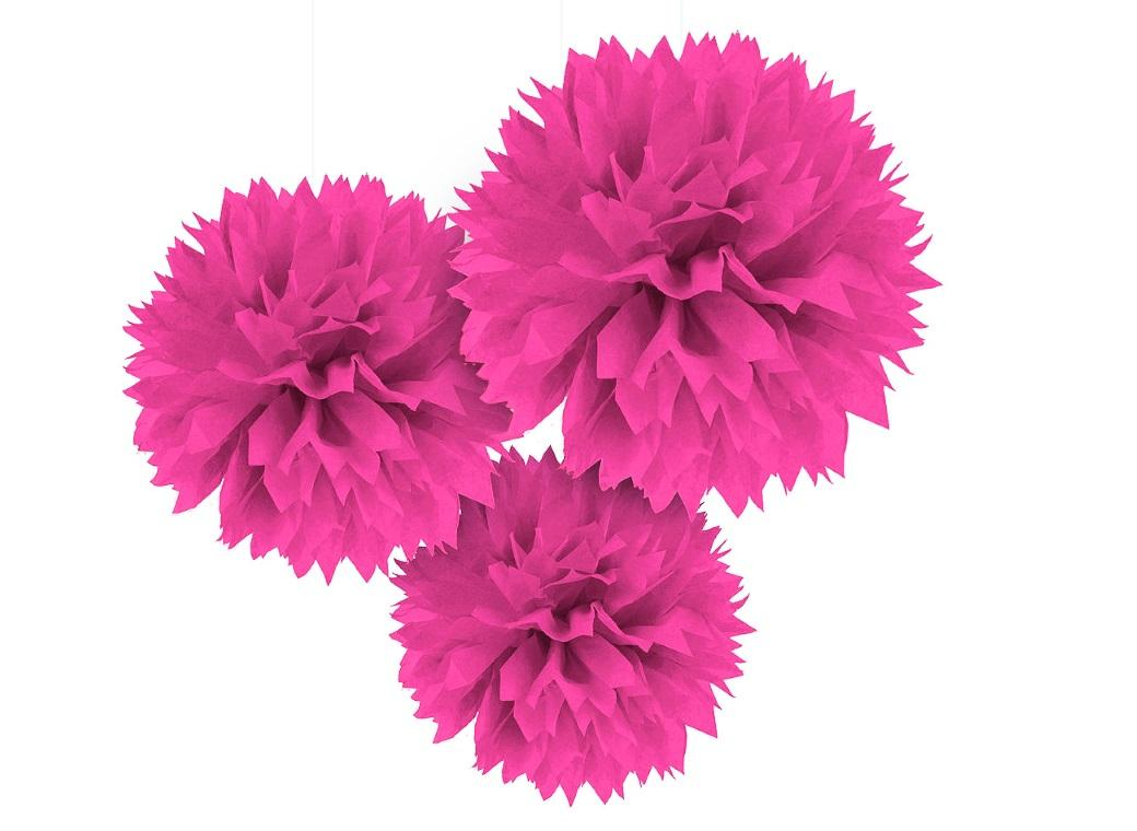 Fluffy Tissue Pom Poms 3pk - Bright Pink