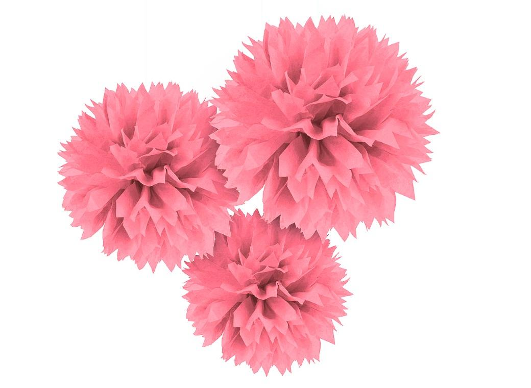 Fluffy Tissue Pom Poms 3pk - New Pink