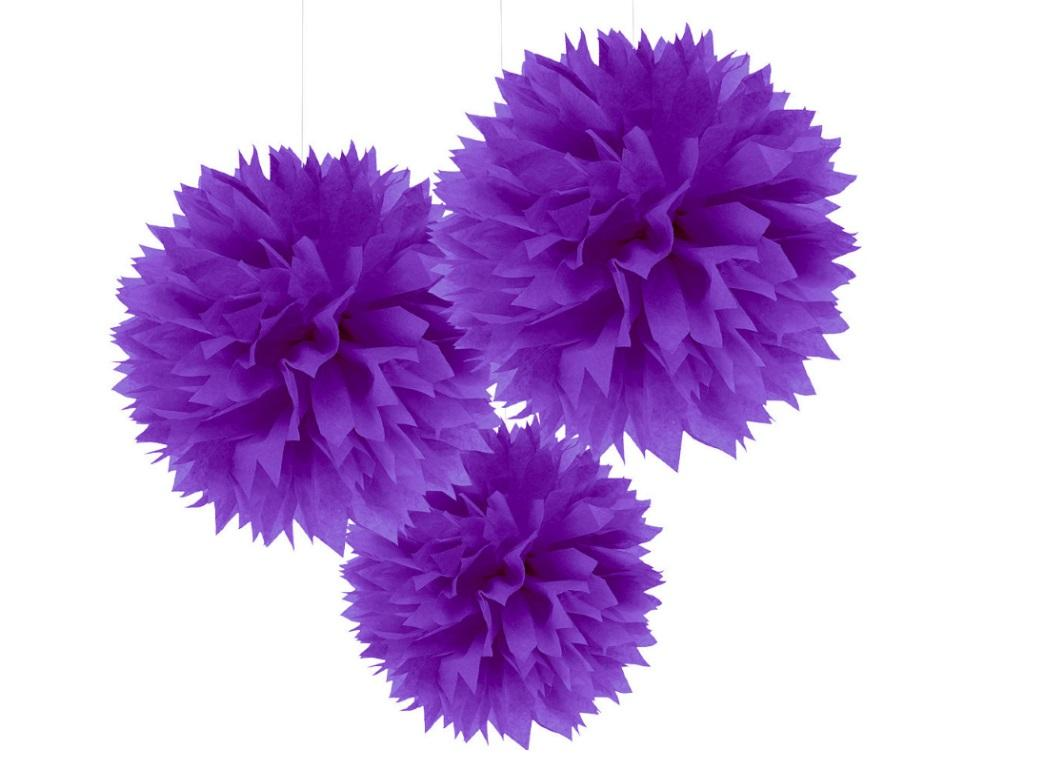 Fluffy Tissue Pom Poms 3pk - Purple