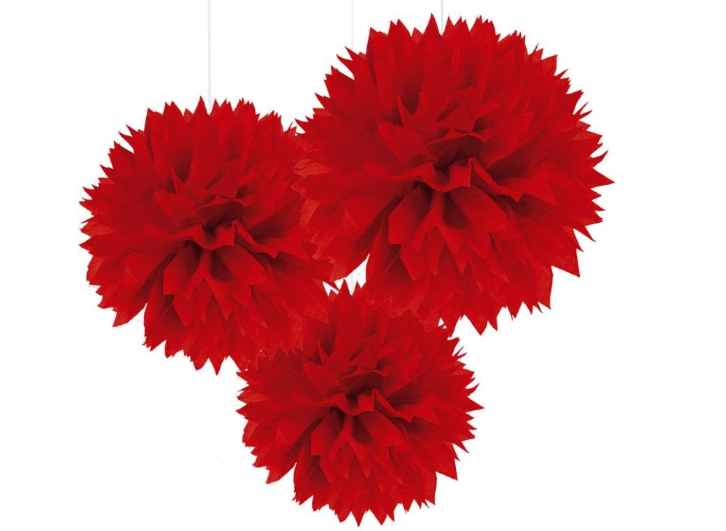 Fluffy Tissue Pom Poms 3pk - Red