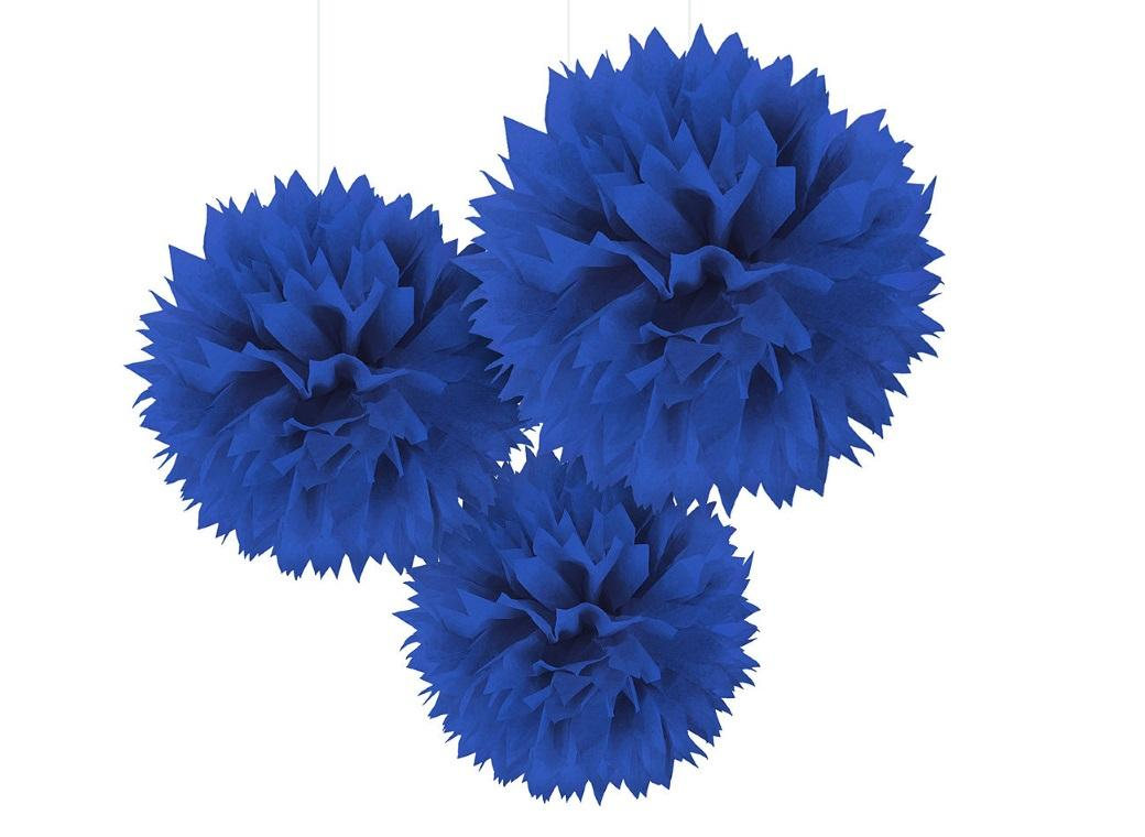 Fluffy Tissue Pom Poms 3pk - Royal Blue