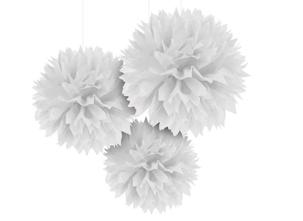 Fluffy Tissue Pom Poms 3pk - White