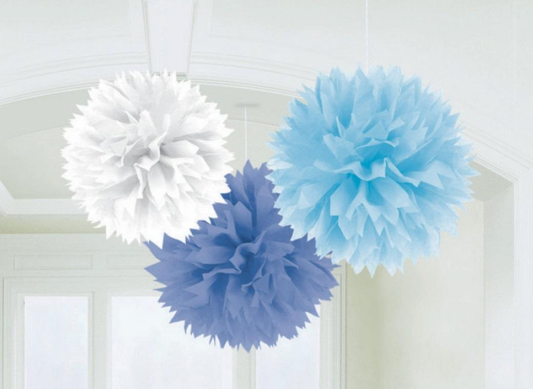 Fluffy Tissue Pom Poms 3pk - Blues